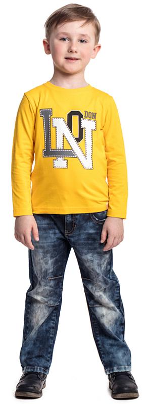 Футболка с длинным рукавом для мальчика PlayToday, цвет: желтый. 371072. Размер 104371072Футболка с длинным рукавом PlayToday выполнена из эластичного хлопка. Подойдет для домашнего использования и в качестве повседневной одежды. Свободный крой не сковывает движений. Натуральная ткань не раздражает нежную кожу ребенка. Модель дополнена ярким принтом.