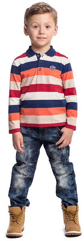 Поло для мальчика PlayToday, цвет: синий, бежевый, оранжевый. 371071. Размер 110371071Футболка-поло PlayToday с длинным рукавом и отложным воротником выполнена из эластичного хлопка. Модель выполнена в технике Yarn Dyed - в процессе производства в полотне используются разного цвета нити. При рекомендуемом уходе изделие не линяет и надолго остается в первоначальном виде.