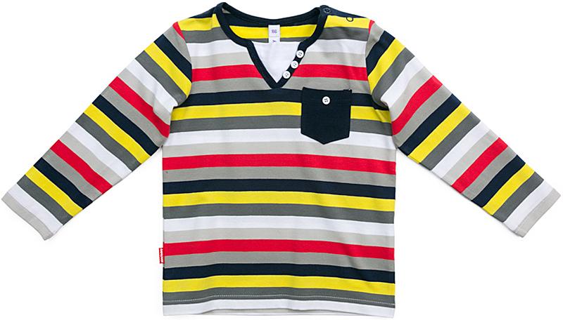 Футболка с длинным рукавом для мальчика PlayToday, цвет: серый, красный, желтый. 377071. Размер 92377071Футболка с длинным рукавом PlayToday выполнена из эластичного хлопка. Футболка с . V-образным вырезом разнообразит повседневный гардероб ребенка. Модель выполнена в технике Yarn Dyed - в процессе производства используются разного цвета нити. При рекомендуемом уходе, изделие не линяет и надолго остается в первоначальном виде. По плечу расположены удобные застежки-кнопки. Верхняя часть изделия дополнена оригинальной вставкой и декорирована рядом пуговиц. Модель с небольшим накладным карманом.