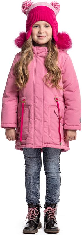 Куртка для девочки PlayToday, цвет: светло-розовый. 372001. Размер 110372001Яркая утепленная куртка-парка PlayToday выполнена из водоотталкивающей ткани. Капюшон декорирован опушкой из искусственного меха. И капюшон, и опушка на удобных застежках-кнопках. При необходимости их можно легко отстегнуть. Куртка с удлиненной спинкой. На талии предусмотрен регулируемый шнурок-кулиска. Внутренняя часть воротника-стойки и манжеты на мягких трикотажных резинках. Модель дополнена небольшой аппликацией и накладными карманами.