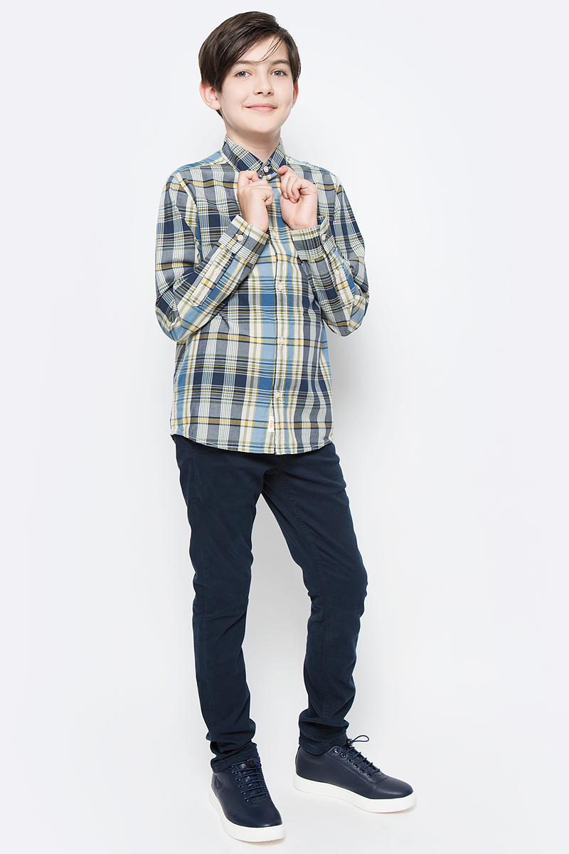 Рубашка для мальчика Tom Tailor, цвет: синий, желтый, белый. 2033016.00.30_6975. Размер 1762033016.00.30_6975Рубашка для мальчика Tom Tailor изготовлена из натурального хлопка. Модель с длинными рукавами и отложным воротником застегивается спереди на пластиковые пуговицы по всей длине. Оформлено изделие принтом в клетку.