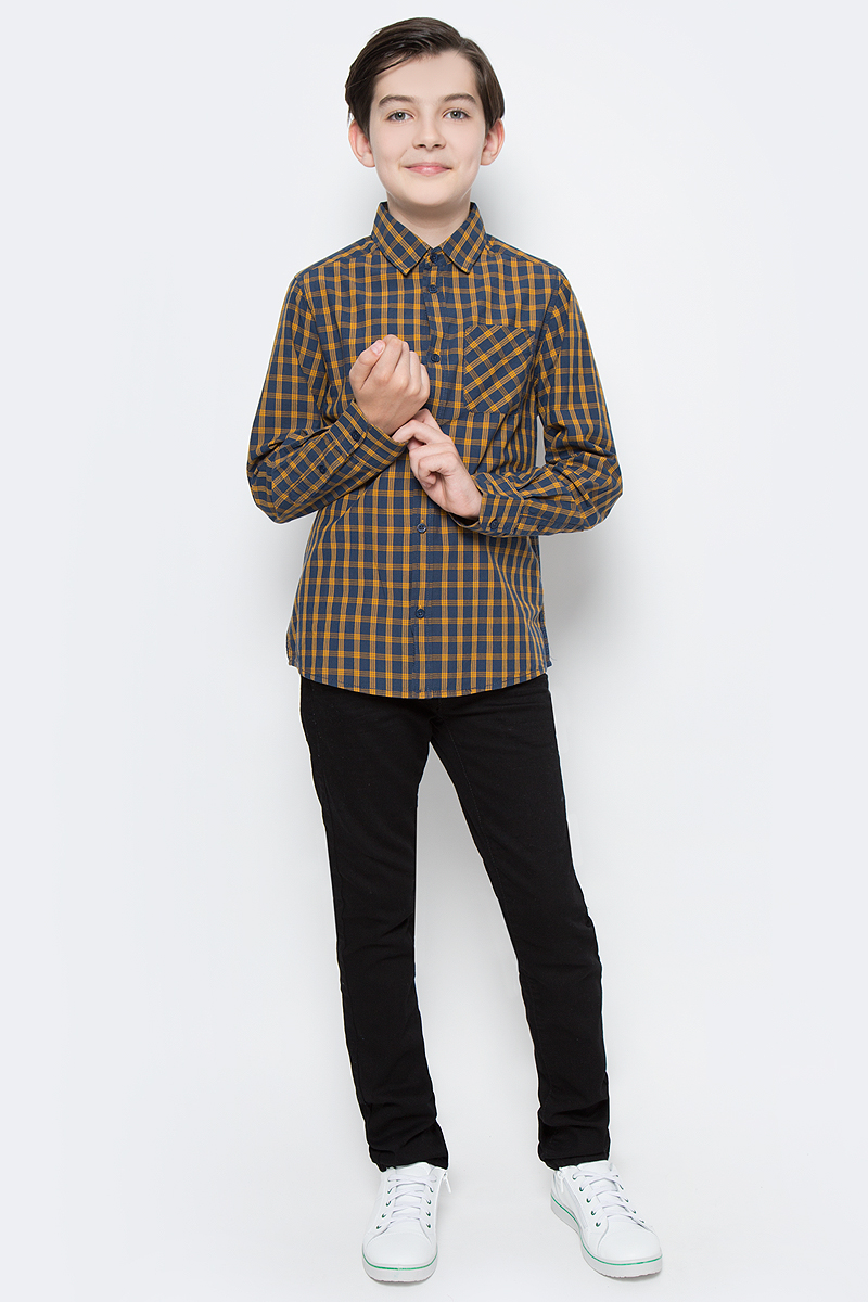 Рубашка для мальчика Tom Tailor, цвет: желтый, синий. 2033384.00.30_3460. Размер 1642033384.00.30_3460Рубашка для мальчика Tom Tailor выполнена из натурального хлопка. Модель с отложным воротником и длинными рукавами застегивается на пуговицы, на груди дополнена накладным кармашком.