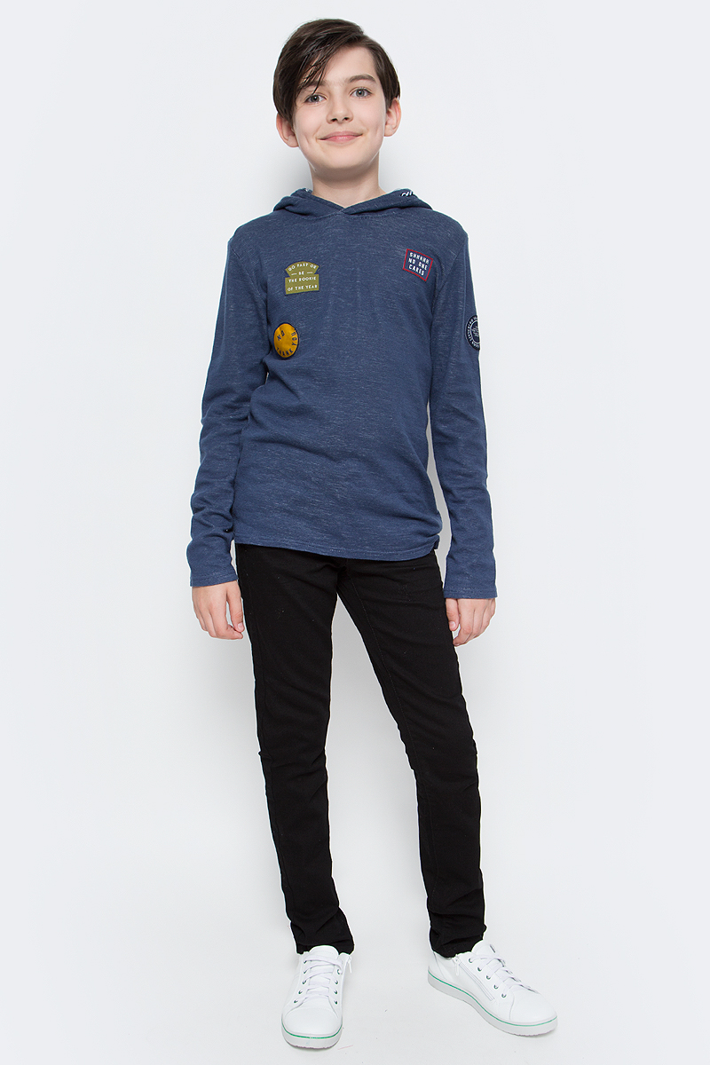 Джемпер для мальчика Tom Tailor, цвет: синий. 1038580.00.30_6758. Размер 1401038580.00.30_6758Джемпер Tom Tailor выполнен из натурального хлопка. Модель с длинными рукавами и капюшоном на кулиске.