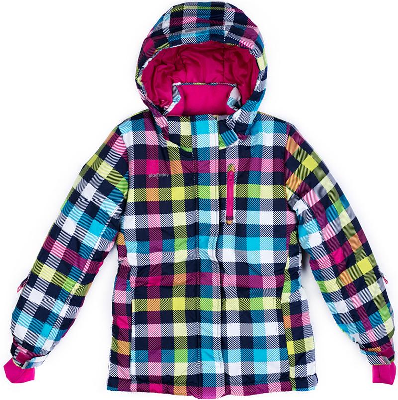 Куртка для девочки PlayToday, цвет: голубой, желтый, розовый. 379002. Размер 128379002Теплая куртка PlayToday выполнена из водонепроницаемой ткани. Модель на молнии. Специальный карман для фиксации бегунка не позволит застежке травмировать нежную детскую кожу. Подкладка из флиса. Низ куртки дополнен снегозащитной юбкой для дополнительного сохранения тепла. Облегающие руку манжеты со специальным отверстием для большого пальца. На рукавах расположены кольца для перчаток. Светоотражатели обеспечат видимость ребенка в темное время суток. Капюшон на кнопках, по контуру дополнен регулируемым шнуром-кулиской. На рукаве расположен специальный карман на молнии для ски-пасса.