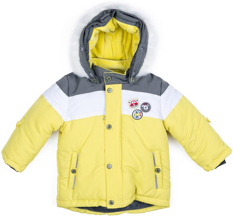 Куртка для мальчика PlayToday, цвет: желтый, серый, белый. 377051. Размер 86377051