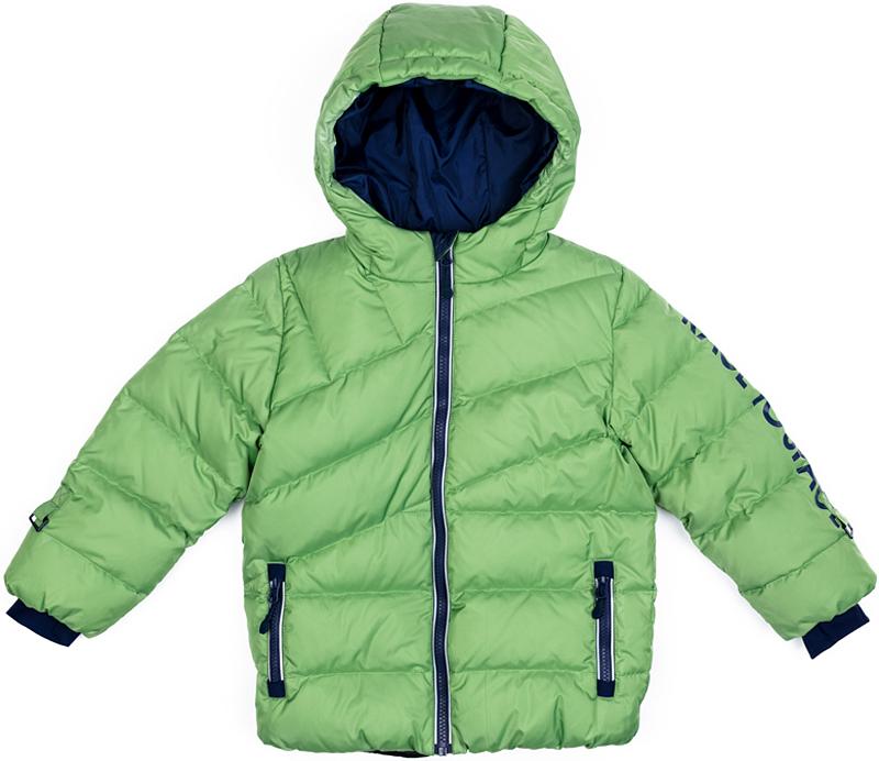 Куртка для мальчика PlayToday, цвет: зеленый, синий. 371152. Размер 128371152Теплая куртка-пуховик PlayToday- отличное решение для прогулок в холодную погоду. Куртка на молнии, специальный карман для фиксации бегунка не позволит застежке травмировать нежную детскую кожу. Подкладка из мягкого флиса. Модель с высоким содержанием пуха, дополнена снегозащитной юбкой. Вшивной капюшон дополнен регулируемым шнуром-кулиской.