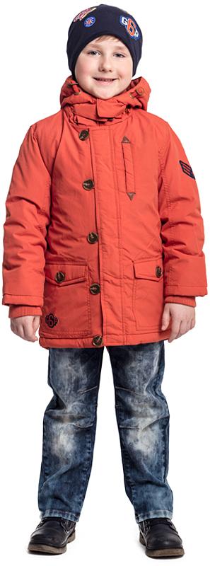 Куртка для мальчика PlayToday, цвет: оранжевый. 371052. Размер 122371052Утепленная куртка-парка PlayToday с капюшоном выполнена из водоотталкивающей ткани. Модель на молнии. Специальный карман для фиксации бегунка не позволит застежке травмировать нежную детскую кожу. Подкладка модели из мягкого флиса. Куртка с удлиненной спинкой. Капюшон на молнии, при необходимости его можно отстегнуть. Рукава дополнены трикотажными манжетами для дополнительного сохранения тепла. Светоотражатели обеспечат видимость ребенка в темное время суток.
