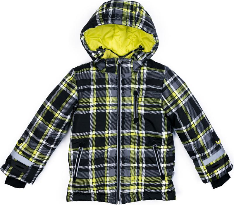 Куртка для мальчика PlayToday, цвет: серый, желтый. 370001. Размер 110370001Теплая куртка PlayToday отлично подойдет для катания со снежных гор! Модель из ткани с водоотталкивающей пропиткой. Капюшон на кнопках, по контуру дополнен регулируемым шнуром-кулиской. Специальные плотные манжеты с отверстием для большого пальца предохраняют от попадания снега. Куртка со снегозащитной юбкой. Подкладка из теплого флиса. Рукава дополнены специальными кольцами для перчаток, предусмотрен вшивной карман для Ski Pass. Светоотражающие элементы позволят видеть ребенка в темное время суток. Застежки для манжет из плотного силикона для дополнительного сохранения тепла.