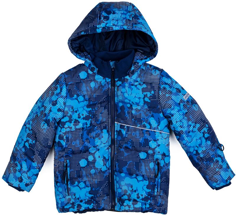 Куртка для мальчика PlayToday, цвет: синий, голубой. 371151. Размер 104371151Теплая куртка PlayToday, выполненная из ткани с водоотталкивающей пропиткой, - отличное решение для холодной погоды. Капюшон на кнопках, при необходимости его можно отстегнуть. Контур капюшона на регулируемом шнуре-кулиске. Куртка на молнии. Специальный карман для бегунка не позволит застежке травмировать нежную детскую кожу. Светоотражающие элементы обеспечат видимость ребенка в темное время суток. Подкладка из мягкого флиса. Куртка дополнена снегозащитной юбкой. Вшивные трикотажные манжеты для дополнительного сохранения тепла. На рукавах предусмотрены специальные кольца для перчаток. Воротник-стойка из плотного трикотажа не вызывает неприятных ощущений.