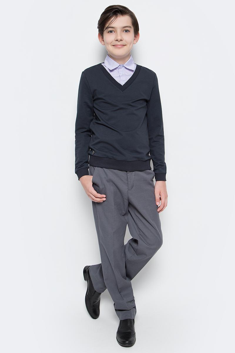 Джемпер для мальчика Nota Bene, цвет: серый. CJK17015B20. Размер 152CJK17015A20/CJK17015B20Джемпер для мальчика Nota Bene выполнен из хлопкового трикотажа. Модель 2-в-1 с длинными рукавами дополнена вставкой, имитирующей рубашку.