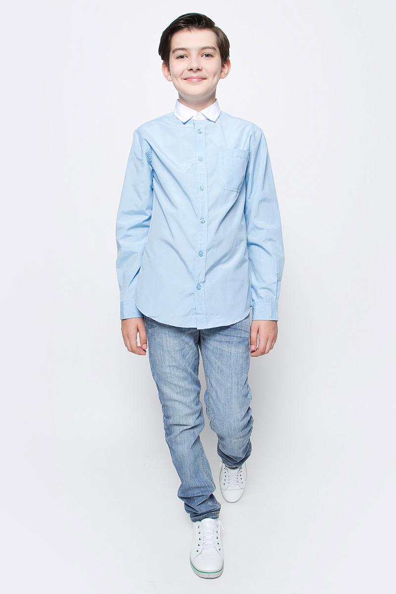 Рубашка для мальчика Sela, цвет: снежно-голубой. H-812/208-7310. Размер 122, 7 летH-812/208-7310Рубашка для мальчика Sela выполнена из высококачественного материала. Модель с отложным воротником и длинными рукавами застегивается на пуговицы. Манжеты застегиваются на пуговицы. На груди рубашка дополнена накладным карманом на пуговице.