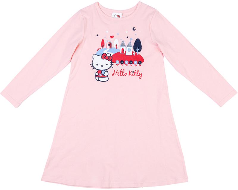 Ночная рубашка для девочки PlayToday, цвет: светло-розовый. 576003. Размер 116576003Ночная рубашка PlayToday выполнена из эластичного хлопка. Эту сорочку можно использовать и для сна, и в качестве домашнего платья. Натуральная ткань приятна к телу и не сковывает движений. Модель декорирована ярким лицензированным принтом.