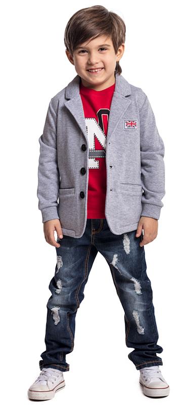 Пиджак для мальчика PlayToday, цвет: серый. 371016. Размер 116371016Однобортный трикотажный пиджак PlayToday в стиле хипстер. Рукава модели с аккуратными манжетами. Яркая подкладка отлично дополняет изделие. Пиджак на трех пуговицах с двумя вшивными карманами.