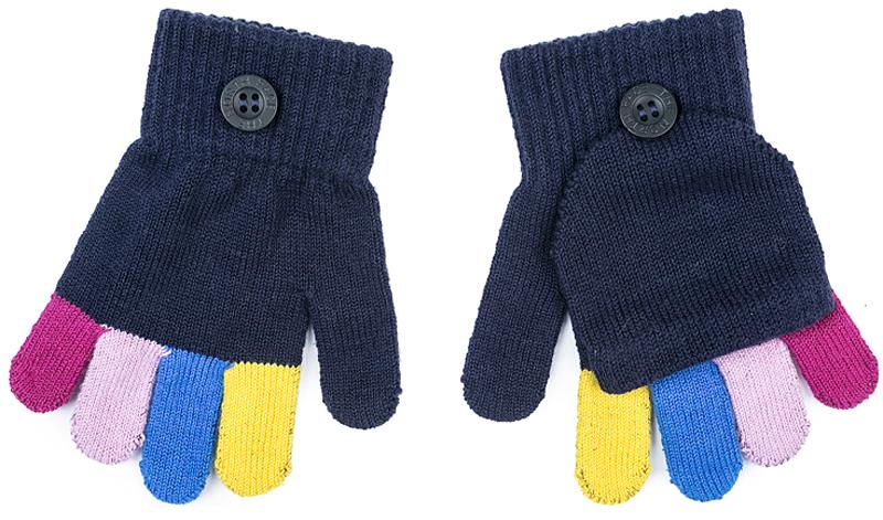 Перчатки для девочки PlayToday, цвет: темно-синий. 372172. Размер 14372172Перчатки-варежки PlayToday выполнены по технологии Yarn Dyed - в процессе производства используются разного цвета нити. При рекомендуемом уходе модель не линяет и надолго остается в первоначальном виде. Манжеты на плотной трикотажной резинке. Перчатки дополнены специальным карманом, за счет которого формируются варежки.