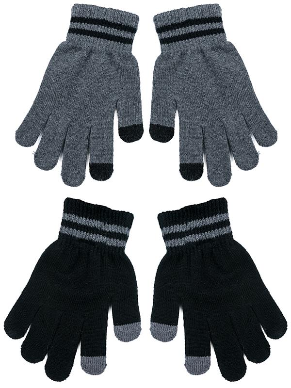 Перчатки для мальчика PlayToday, цвет: темно-серый, черный, 2 пары. 371031. Размер 14371031Smart Gloves - перчатки для сенсорных экранов! Вязаные перчатки станут идеальным вариантом для прохладной погоды. Они очень мягкие, хорошо тянутся и прекрасно сохраняют тепло. На манжетах - плотная резинка, которая хорошо держит перчатки на руках ребенка. На большом и указательном пальцах специальные нити, которые позволяют пользоваться телефоном, не снимая перчаток с рук. В комплект входит 2 пары.