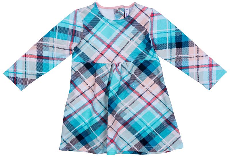 Платье для девочки PlayToday, цвет: голубой, розовый. 378072. Размер 92378072Платье PlayToday с округлым вырезом горловины и длинным рукавом. Модель расклешенная книзу выполнена из натуральной принтованной ткани. На спинке удобные застежки-кнопки.