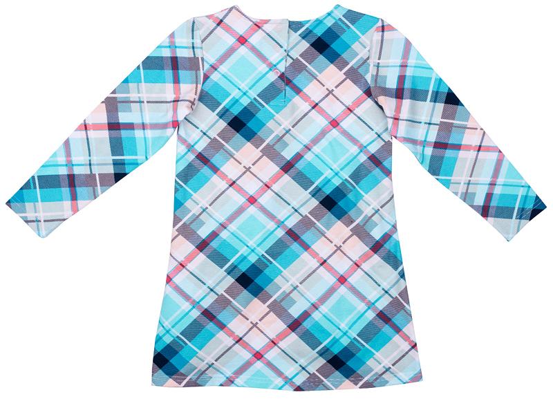 Платье для девочки PlayToday, цвет: голубой, розовый, серый. 372119. Размер 128372119Платье PlayToday отрезное по талии. Выполнено из натуральной принтованной ткани. Модель с округлым вырезом горловины и длинным рукавом.
