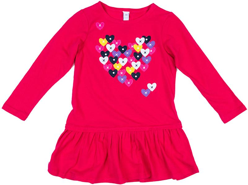 Платье для девочки PlayToday, цвет: малиновый. 372074. Размер 110372074Классическое платье PlayToday - отличное решение для повседневного гардероба. Модель с округлым вырезом и заниженной юбкой декорирована принтом. Натуральный материал не вызывает раздражений. Свободный крой не сковывает движений ребенка.
