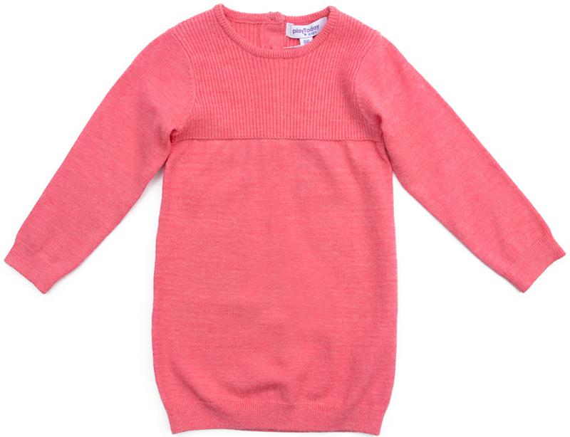 Платье для девочки PlayToday, цвет: розовый. 378058. Размер 92378058Платье PlayToday с высоким содержание вискозы - отличное решение для повседневного гардероба ребенка. За счет высокой гигроскопичности материала и его способности сохранять тепло, модель прекрасно впитывает лишнюю влагу и ребенку будет комфортно. Платье с округлым вырезом, на пуговицах. Верх связан в технике лапша. Горловина, низ и манжеты на мягких трикотажных резинках.
