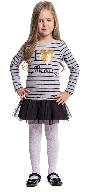 Платье для девочки PlayToday, цвет: серый, черный. 372024. Размер 116372024Платье PlayToday свободного кроя дополнит повседневный гардероб ребенка. Модель с округлым вырезом выполнена в технике Yarn Dyed - в процессе производства используются разного цвета нити. При рекомендуемом уходе изделие не линяет и надолго остается в первоначальном виде. Модель дополнена аппликацией из пайеток. Верхняя часть юбки декорирована сетчатой тканью.