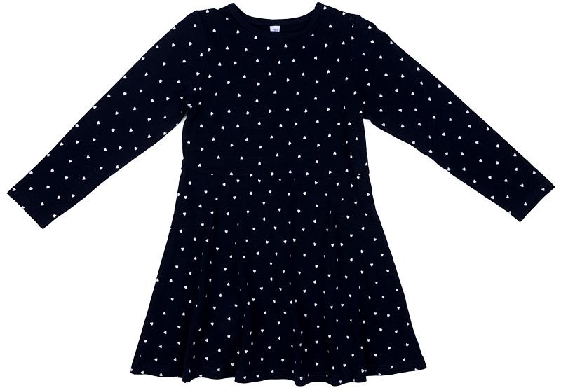 Платье для девочки PlayToday, цвет: темно-синий, белый. 372165. Размер 116372165Платье PlayToday с округлым вырезом отрезное по талии. Выполнено из натурального хлопка. Модель с длинными рукавами. В качестве декора использован мелкий принт по всей площади изделия.