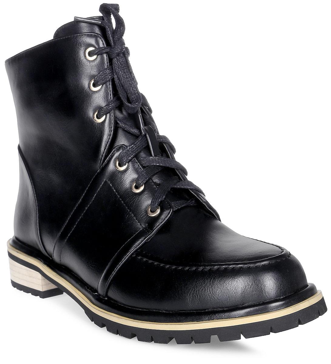 Ботинки женские Vitacci, цвет: черный. 83004. Размер 4183004Удобные женские ботинки от Vitacci изготовлены из качественной искусственной кожи. Модель застегивается на боковую молнию и шнуровку. Практичная стелька из ворсина обеспечит комфорт при носке. Подошва дополнена небольшим каблуком и рифлением.