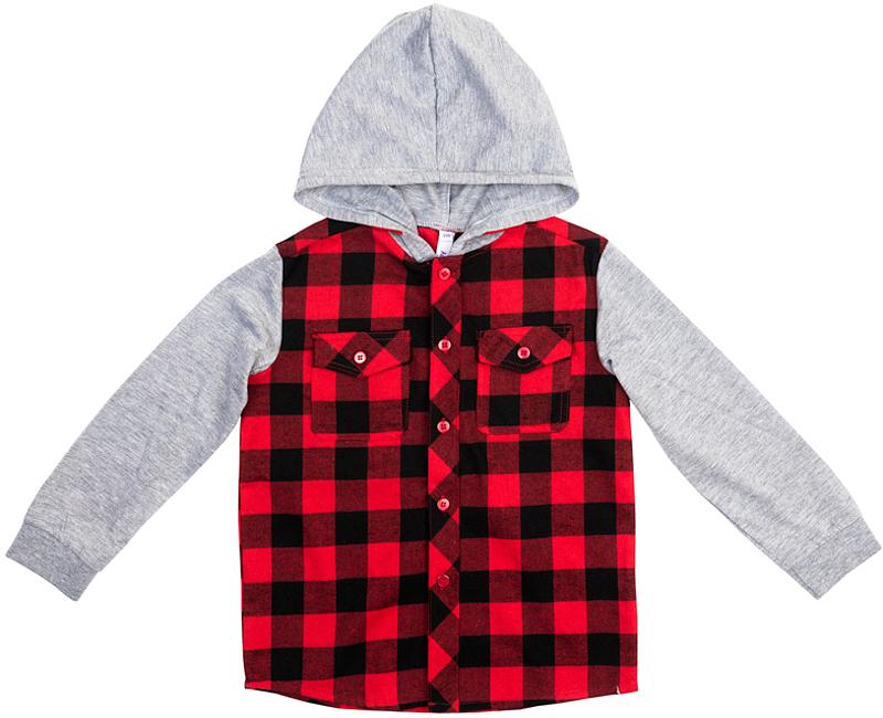 Рубашка для мальчика PlayToday, цвет: серый, черный, красный. 371010. Размер 116371010Эффектная рубашка PlayToday с капюшоном в стиле кантри практична и очень удобна для повседневной носки. Ткань мягкая и приятная на ощупь, не раздражает нежную детскую кожу. Стиль отвечает всем последним тенденциям детской моды. Модель с двумя накладными карманами. Манжеты на мягких трикотажных резинках. Капюшон и рукава контрастного цвета.