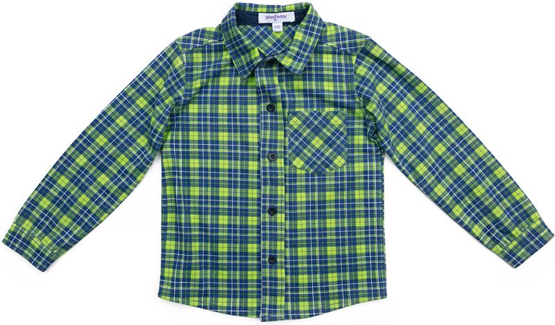 Рубашка для мальчика PlayToday, цвет: синий, зеленый. 371166. Размер 128371166Эффектная рубашка PlayToday с длинным рукавом - отличное решение для повседневного гардероба ребенка. Ткань мягкая и приятная на ощупь, не раздражает нежную детскую кожу. Стиль отвечает всем последним тенденциям детской моды. Рубашка с отложным воротником. Даже в самой активной игре ребенок будет всегда иметь аккуратный вид. Модель дополнена вставками на рукавах.