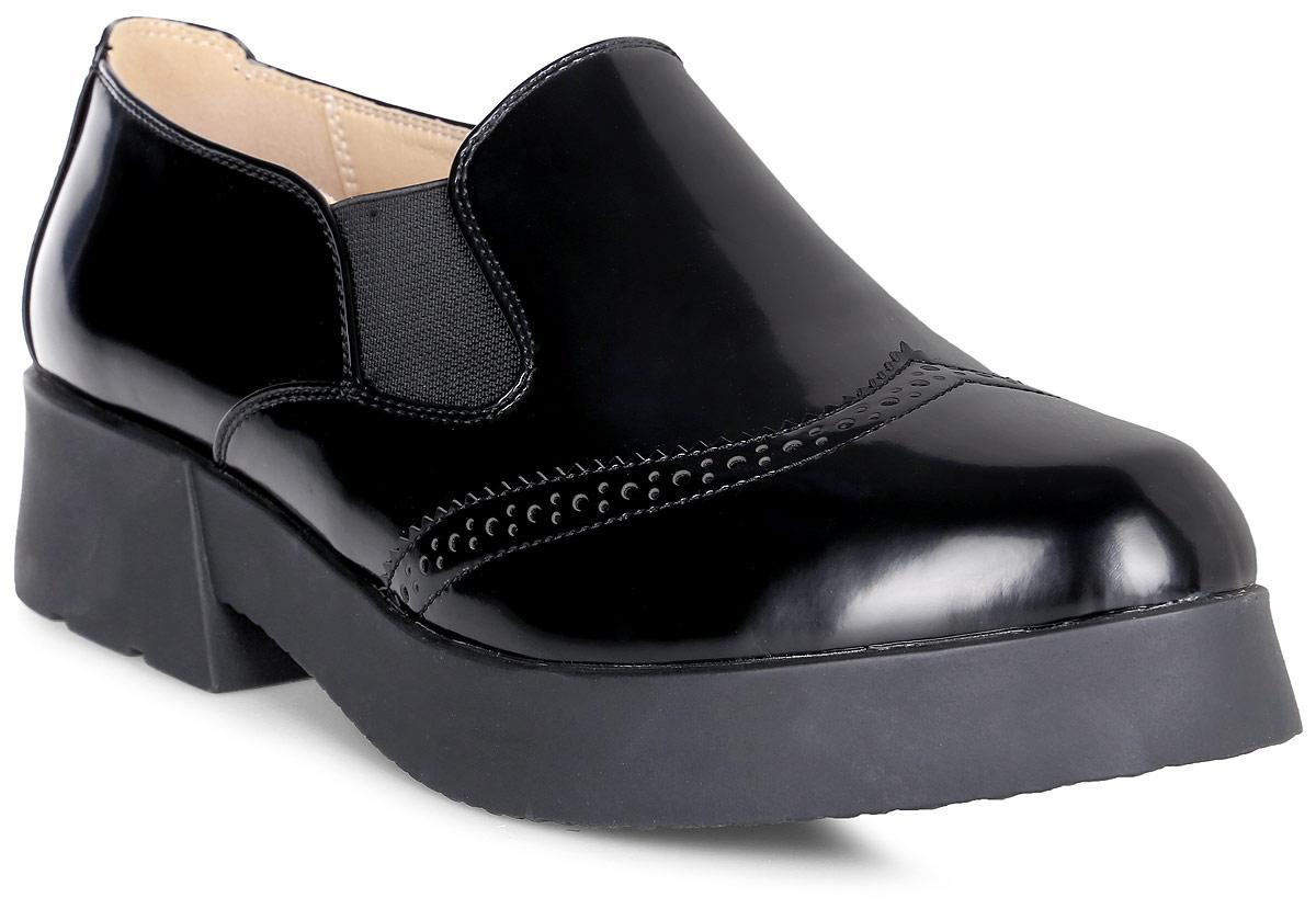 Полуботинки женские Vitacci, цвет: черный. 83506. Размер 3883506Стильные женские полуботинки от Vitacci изготовлены из качественной искусственной кожи. Модель оформлена эластичными вставками на подъеме. Практичная стелька из кожи обеспечит комфорт при носке. Подошва выполнена с широким низким каблуком.