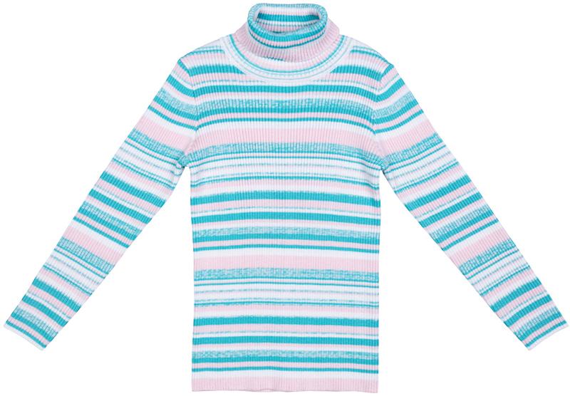 Свитер для девочки PlayToday, цвет: голубой, белый, розовый. 372109. Размер 128372109Свитер PlayToday с воротником-гольф - актуальное решение для повседневного гардероба ребенка. Модель выполнена в технике Yarn Dyed - в процессе производства используются разного цвета нити. Изделие, при рекомендуемом уходе, не линяет и надолго остается в первоначальном виде. Метод вязания свитера - лапша.