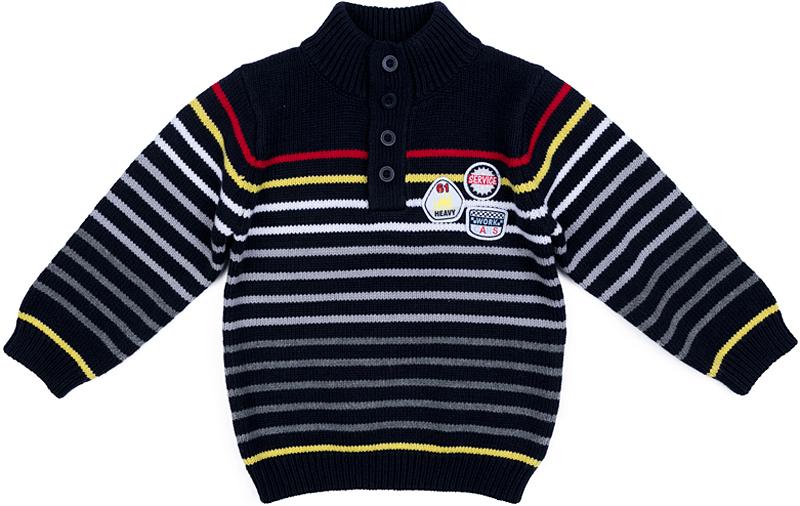 Свитер для мальчика PlayToday, цвет: темно-серый, серый, белый, красный. 377055. Размер 80377055