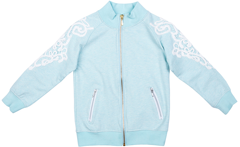 Толстовка для девочки PlayToday, цвет: голубой, белый. 372111. Размер 128372111