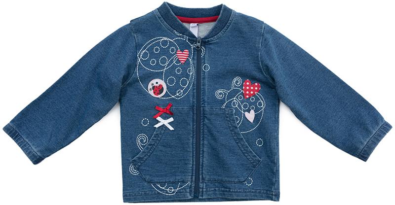 Куртка для девочки PlayToday, цвет: синий, красный. 378805. Размер 56378805Джинсовая куртка PlayToday на молнии выполнена из натуральной хлопковой ткани. Воротник окантован мягкой трикотажной резинкой. Модель дополнена небольшими аппликациями и карманами.