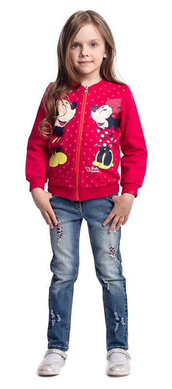 Толстовка для девочки PlayToday, цвет: малиновый. 572051. Размер 116572051Толстовка PlayToday на молнии - отличное решение для повседневного гардероба ребенка. Горловина, манжеты и низ изделия на мягких трикотажных резинках. Свободный крой не сковывает движений ребенка. Модель декорирована лицензированным принтом.