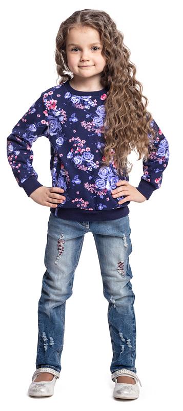 Свитшот для девочки PlayToday, цвет: фиолетовый, сиреневый. 372065. Размер 98372065Свитшот PlayToday выполнен из смесовой ткани с высоким содержанием хлопка. Манжеты, горловина и низ изделия на мягких трикотажных резинках. Модель дополнена удобными вшивными карманами.