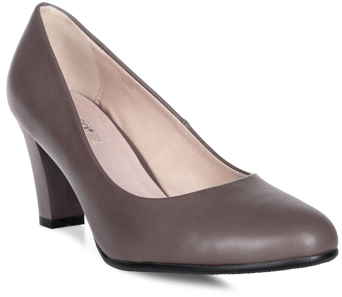 Туфли женские Vitacci, цвет: мокко. 83409. Размер 3583409Стильные туфли Vitacci выполнены из качественной искусственной кожи. Стелька из натуральной кожи обеспечивает комфорт и удобство при ходьбе. Подошва выполнена с высоким устойчивым каблуком.
