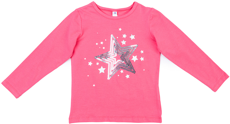 Футболка с длинным рукавом для девочки PlayToday, цвет: розовый. 372126. Размер 116372126Футболка PlayToday выполнена из эластичного хлопка. Модель с длинными рукавами и круглым вырезом горловины оформлена принтом из пайеток.