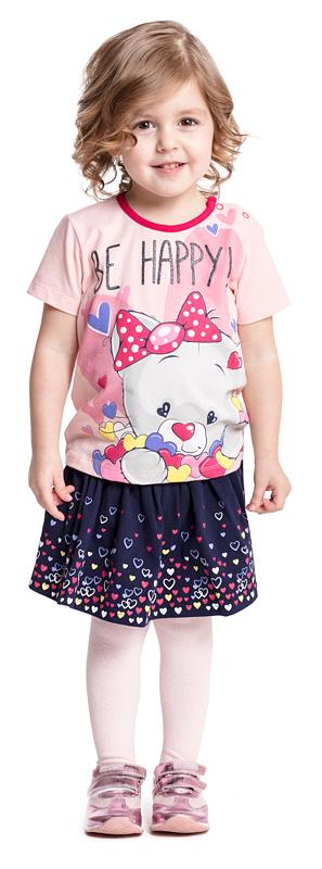 Футболка для девочки PlayToday, цвет: розовый. 378025. Размер 92378025Футболка PlayToday выполнена из эластичного хлопка. Модель с короткими рукавами и круглым вырезом горловины оформлена принтом. По плечу футболка дополнена удобными застежками-кнопками.