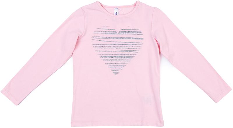 Футболка с длинным рукавом для девочки PlayToday, цвет: светло-розовый. 372079. Размер 128372079Футболка PlayToday выполнена из эластичного хлопка. Модель с длинными рукавами и круглым вырезом горловины оформлена принтом.