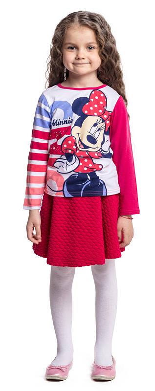 Футболка с длинным рукавом для девочки PlayToday, цвет: розовый, белый. 572052. Размер 104572052Футболка PlayToday выполнена из эластичного хлопка. Модель с длинными рукавами и круглым вырезом горловины оформлена принтом.