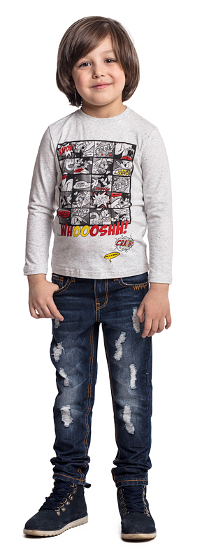 Футболка с длинным рукавом для мальчика PlayToday, цвет: светло-серый. 571002. Размер 104571002Футболка PlayToday выполнена из эластичного хлопка. Модель с длинными рукавами и круглым вырезом горловины оформлена принтом.