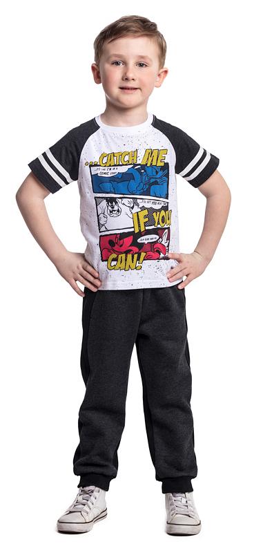 Футболка для мальчика PlayToday, цвет: белый, черный. 571003. Размер 128571003Футболка PlayToday выполнена из эластичного хлопка. Модель с короткими рукавами и круглым вырезом горловины оформлена принтом.