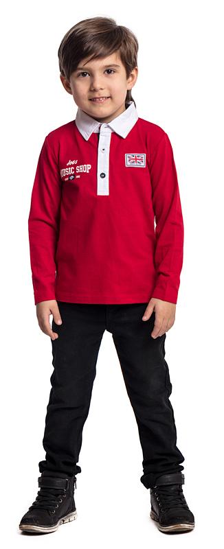 Поло для мальчика PlayToday, цвет: красный. 371018. Размер 98371018Футболка-поло PlayToday классического кроя выполнена из эластичного хлопка. Яркая аппликация отлично дополняет модель. Лекало модели полностью повторяет лекало футболки-поло для взрослого мужчины.