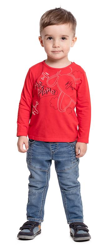 Футболка с длинным рукавом для мальчика PlayToday, цвет: красный. 377028. Размер 74377028Футболка PlayToday выполнена из эластичного хлопка. Модель с длинными рукавами и круглым вырезом горловины оформлена принтом. По плечу футболка дополнена удобными застежками-кнопками.