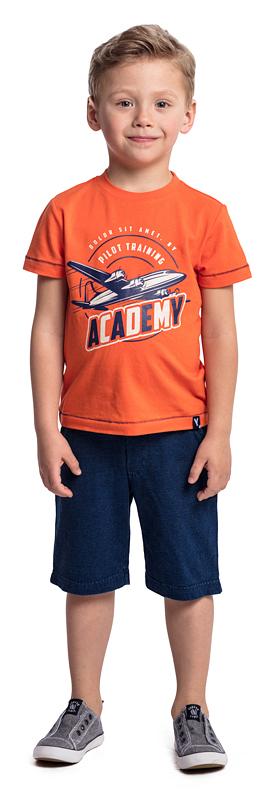 Футболка для мальчика PlayToday, цвет: оранжевый. 371082. Размер 128371082Футболка PlayToday выполнена из эластичного хлопка. Модель с короткими рукавами и круглым вырезом горловины оформлена принтом.