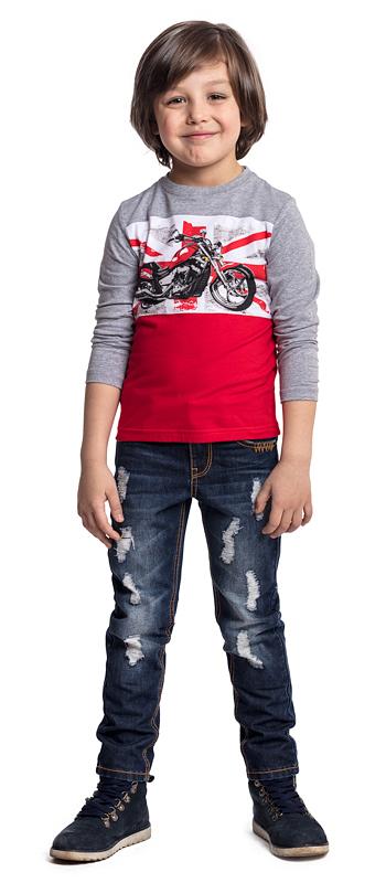 Футболка с длинным рукавом для мальчика PlayToday, цвет: серый, красный. 371020. Размер 104371020Футболка PlayToday выполнена из эластичного хлопка. Модель с длинными рукавами и круглым вырезом горловины оформлена принтом.