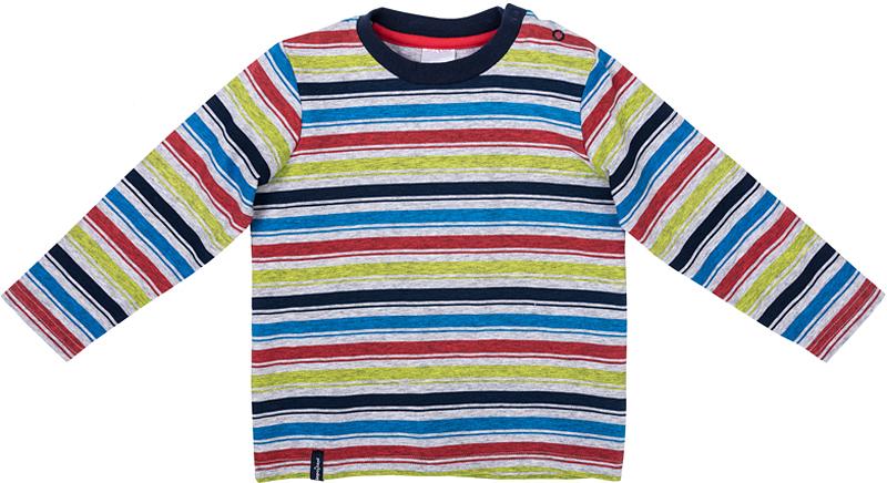 Футболка с длинным рукавом для мальчика PlayToday, цвет: серый, синий, зеленый, голубой. 377030. Размер 86377030Футболка PlayToday выполнена из эластичного хлопка. Модель с длинными рукавами и круглым вырезом горловины оформлена принтом в полоску. По плечу футболка дополнена удобными застежками-кнопками.