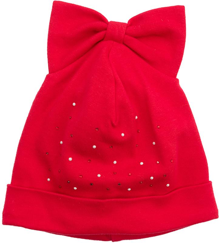 Шапка для девочки PlayToday, цвет: красный. 378818. Размер 44378818Эффектная шапка PlayToday из трикотажа дополнит гардероб ребенка. Модель без завязок, плотно прилегает к голове, комфортна при носке. Оригинальный крой создает на макушке эффект бантика. В качестве декора использована россыпь из страз.