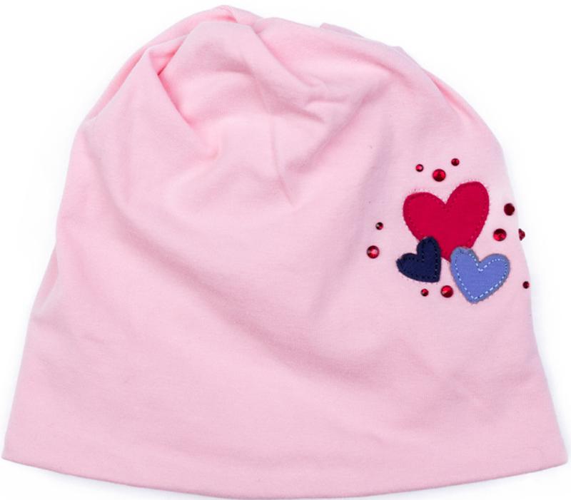 Шапка для девочки PlayToday, цвет: светло-розовый. 378035. Размер 48378035Шапка PlayToday из трикотажа - отличное решение для прогулок в прохладную погоду. Модель без завязок, плотно прилегает к голове, комфортна при носке. Декорирована аккуратной аппликацией и россыпью из страз.