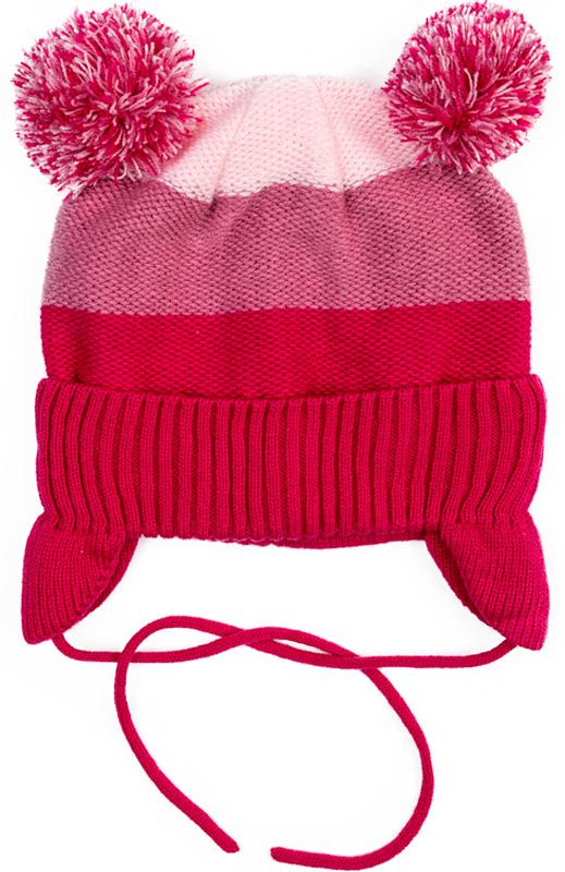 Шапка для девочки PlayToday, цвет: розовый. 372044. Размер 52372044Шапка PlayToday из трикотажа на подкладке - отличное решение для прогулок в прохладную погоду. Модель на завязках, комфортна при носке. Шапка выполнена в технике Yarn Dyed- в процессе производства используются разного цвета нити. При рекомендуемом уходе изделие не линяет и надолго остается в первоначальном виде. Подкладка из смесовой ткани с высоким содержанием натурального хлопка, отлично впитывает лишнюю влагу. Эргономичная конструкция шапки защитит уши ребенка при сильном ветре. Модель дополнена эффектными помпонами.